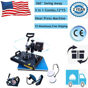 12 x15 5 In 1 Digital Heat Press Machine Transfer Printing Diy T shirt Mug Plate