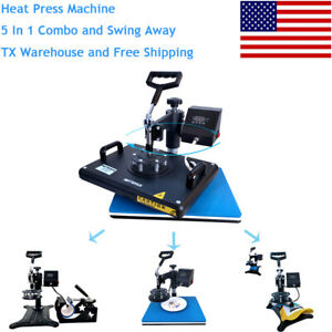 12x15 5 In 1heat Press Machine Digital Transfer Sublimation Diy Tshirt Mug Plate