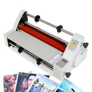 110v 13inch Laminator V350 Laminating Machine Four Rollers Cold Hot Rolls New