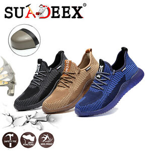 Mens Work Safety Shoes Steel Toe Hiking Breathable Outdoor Construction Sneakers