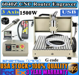 3 Axis 6040 Cnc Router Engraver Milling Carver Machine Usb 3d Cutter 1500w Rc