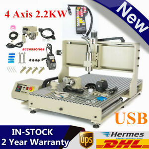 Usb 4 Axis 2 2kw Engraver Machine Cnc 6090 Router Woodwork 2200w Drill Cutter rc