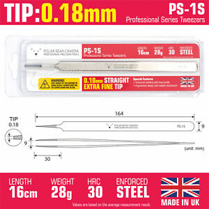 0 18mm Straight Tip Industrial Long Tweezers Made In Uk For Professional Use