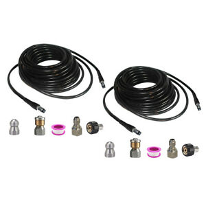 2x High Pressure Washer Sewer Cleaning Pipe Adapter Set Water Pipe 6m 10m