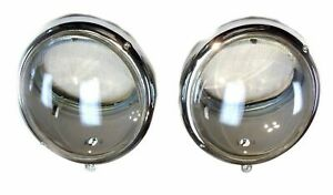 Pair 1949 1967 Vw Bug Bus Headlight Assembly Bucket Smooth Lens Set Of 2