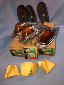 Mack Vintage Truck Roof Cab Marker Clearance Lights With Glass Lenses Nos W box