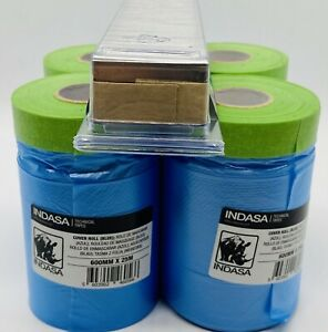 Pack Of 4 Indasa Masking Tape Cover Roll 24 X 27 Yard Free Razor Blades