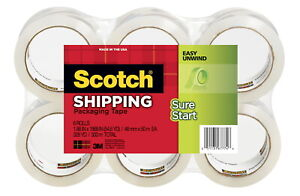 Scotch Sure Start Shipping Packaging Tape 1 88 Inches X 54 6 Yards Set Of 6