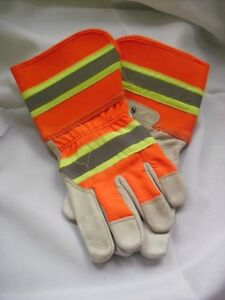 2 High Visibility Leather Work Gloves New Small Medium Large X large Hi Vis