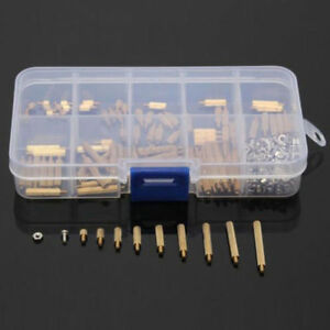 270 Pcs Male Female Brass Pcb Spacer Standoff Screw Nut Assortment Threaded M2