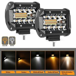 2x 4 inch Square Led Work Light Spot Flood Combo Driving Fog Amber Lamp Offroad