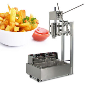Stainless Steel Commercial Manual Spanish Churro Maker Machine W 5kw 12l Fryer