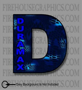 Duramax Chevy Turbo Diesel D Blue Kryptic Camo Window Sticker Decal