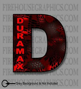 Duramax Chevy Turbo Diesel D Red Kryptic Camo Window Sticker Decal