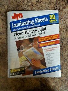 New Jm Brand 50 Laminating Sheets Size 9 X 12 no Heat Required
