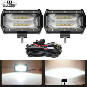 2pc 5inch Cree Led Light Bar Pods Spot Flood Combo Work Driving Offroad Wiring