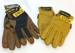 Mixed Lot Of 2 Pairs Xl Firm Grip Genuine Leather Gel Pro Hybrid Work Gloves