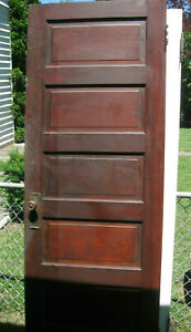 Antique Vintage Solid Wood 5 Panel Interior Door Stained 79 H X 29 W 1 3 8 T