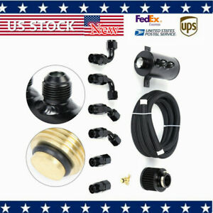 Alloy Baffled 0 75l 10an Motor Oil Catch Can 3m Hose Kit And Fittings Alumium
