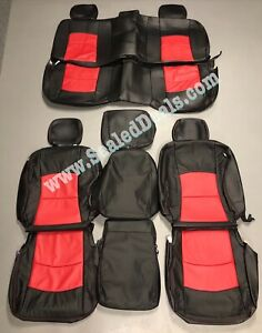 2013 17 Ram 1500 Katzkin Mopar Black And Red Leather Seat Replacement Covers