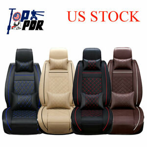 Luxury Car Pu Leather Seat Covers 5 Seat Set Cushions Car Accessories Auto Parts