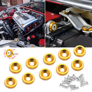 10pcs Jdm Billet Aluminum Fender Bumper Washer Bolt Engine Bay Decor Kit Gold