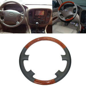 Gray Leather Wood Steering Wheel Cover For 98 02 Land Cruiser Fj100 4700 4500 Lx