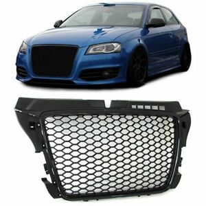 Black Gloss Badge Less Front Grille For Audi A3 8p Facelift Models