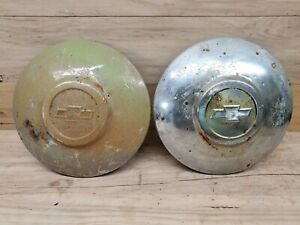 2 Vintage 1940 s 1950 s Chevy Chevrolet Baby Moon Dog Dish Hubcap 9 3 4 Chrome