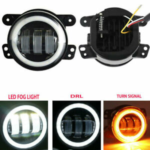 Dot 2pcs 4inch Round Led Fog Lights 30w White Halo Ring Drl For Jeep Wrangler Jk