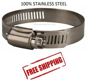 10 Hose Clamp 32 All Stainless Steel Worm Gear 1 9 16 2 1 2 Marine Auto