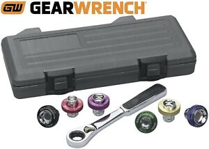 Gearwrench 7 Piece 3 8 Drive 6 Point Magnetic Oil Drain Plug Metric Socket Set