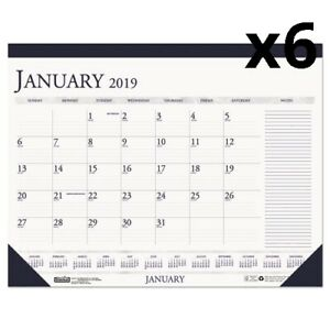Recycled Two color Monthly Desk Pad Calendar W large Notes Section 22x17