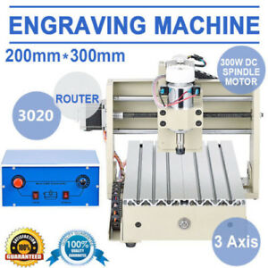 De 3axis Cnc 3020 Router Engraving Drill mill Machine 300w Motor Woodworking New