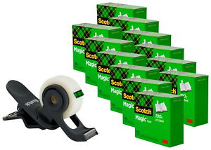 Scotch Clip Tape Dispenser With 12 Rolls Of 3 4 X 350 Inch Tape