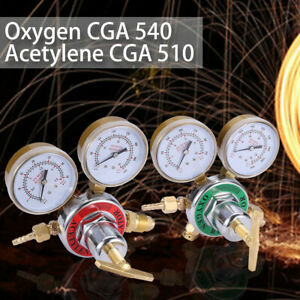 Welding Gas Gauges Oxygen cga 540 And Acetylene cga 510 Regulators 2pc New