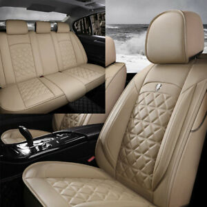 5 seats Car Seat Covers Pu Leather Front Rear Full Interior Set Universal Us