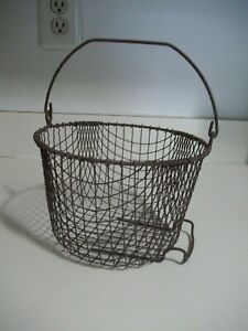 Vtg Primitive Barn Find Wire Egg Clam Gathering Basket Farm House Fabulous