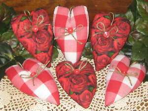 6 Hearts Buffalo Check Red Rose Fabric Country Decor Wreath Accents Ornaments