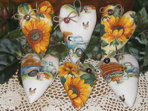 6 Hearts Blue Trucks Sunflowers Wreath Accents Country Decor Tree Ornaments
