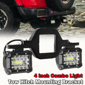 Tow Hitch Mounting Bracket 3 Row Led Work Light Bar Pods Backup Atv Reverse 4