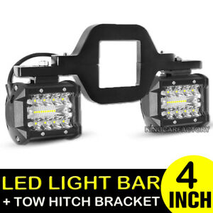 Tow Hitch Mounting Bracket 4 Combo Led Work Light Bar Backup Reverse For Truck
