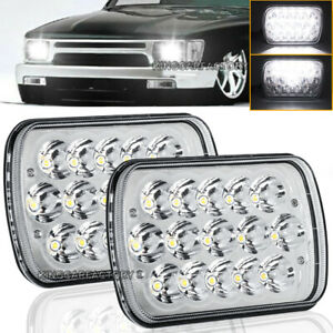 Pair 5x7 7x6 Led Headlight For 1986 1995 Jeep Wrangler Yj 1984 2001 Cherokee Xj