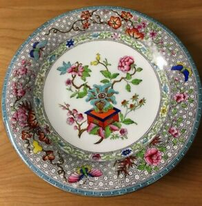 Antique Royal Worcester Porcelain Compote Or Footed Plate Butterfly Floral 1870s