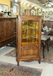 French Antique Louis Xv Oak Wood Glass Door Display Cabinet With 3 Shelves