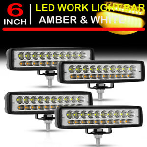 4x 6 Inch Led Work Light Bar White Amber Dual Color Offroad Driving Fog Lamps