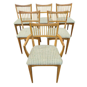 Set Of Six Mid Century Modern Sculptural Walnut Dining Side Arm Chairs C 1957
