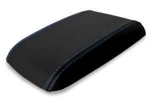 Console Lid Armrest Leather Cover For Ford Mustang 1987 1993 Black Blue Stitch