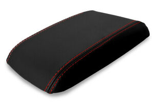 Console Lid Armrest Leather Cover For Ford Mustang 1987 1993 Black Red Stitch