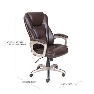 Brown Serta Big And Tall Commercial Office Chair With Memory Foam Up To 350lbs